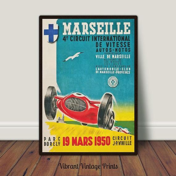 Palm Springs Road Races 1950 Vintage Poster Print Retro Style Car Racing Art