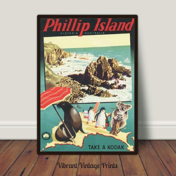 Phillip Island Victoria Australia Penguin Koala Vintage Travel Art Poster Print