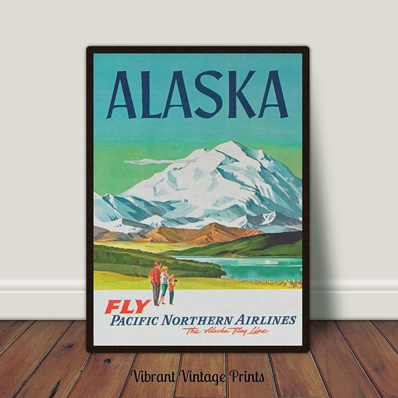 VINTAGE TRAVEL ART ALASKA RETRO POSTER PRINT A5 A4 A3 A2 A1 PHOTO