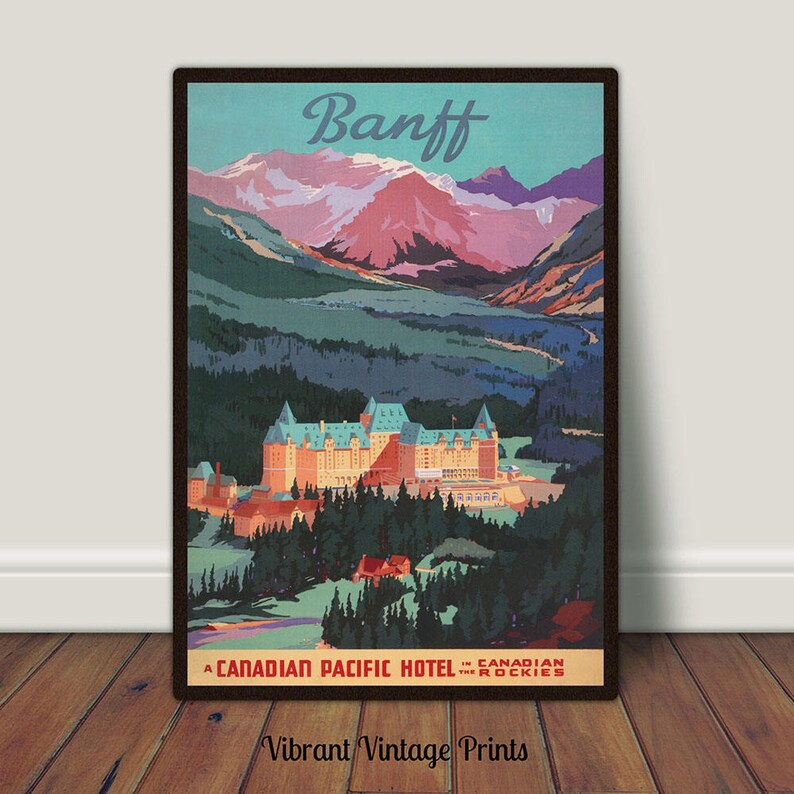 Vintage Banff Canada Tourism Poster A3//A4 Print