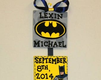 Superhero Batman birth announcement for baby nursery or childrens bedroom