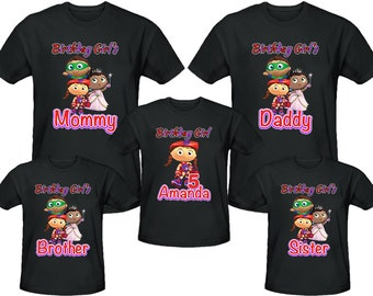 Personalized Custom Birthday T-shirt Super Why Princess Presto Super Why party
