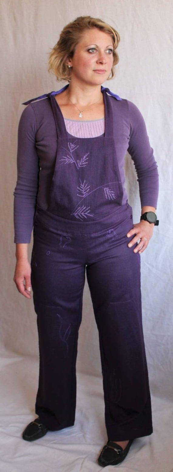 taille 40 bf307 98579 Salopette violette en lin ,doublée et brodée
