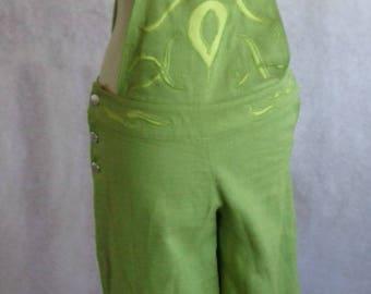 Olive linen overalls