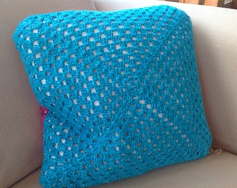 Handmade reversible cushion in pink and blue 40cm x 40cm *HALF PRICE*