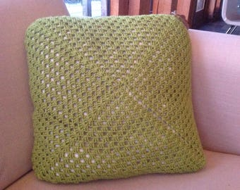 Hand Made Cushion i+ feather filler Green 45cm x 45cm *HALF PRICE*