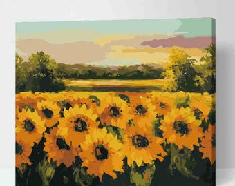 Sunflower Painting Abstract Acrylic On Canvas Art Drawing Sunflowers Yellow