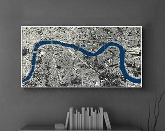 City Layout Of London, London Art, London Printable, London Print Digital,  London 3D Map, London Wall Art, London Cityscape England