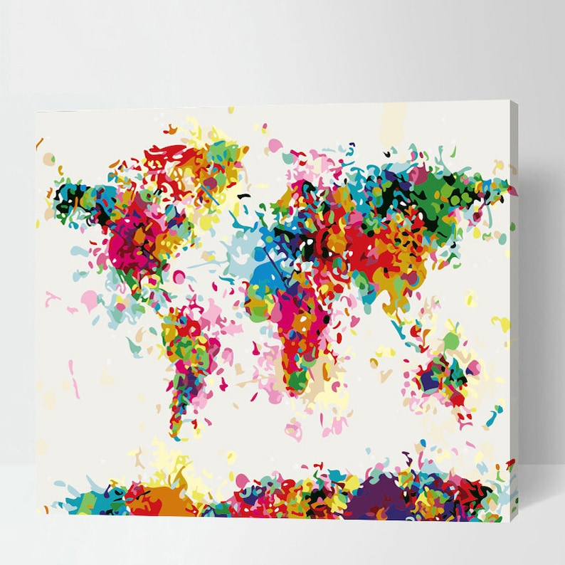 Abstract World Map Painting Paint By Number World Map Etsy