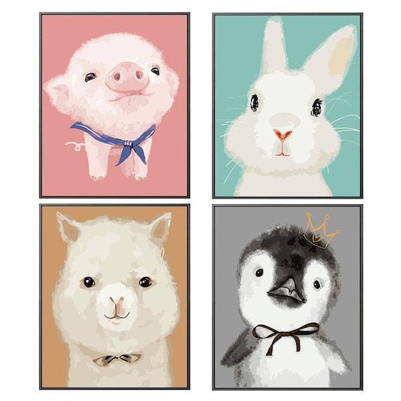 Malen nach Zahlen Set Tier / / Öl-Malerei-Tier auf Leinwand / / Öl Gemälde  für Kinderzimmer / / Schweinchen Hase-Alpaka-Pinguin-Öl Gemälde