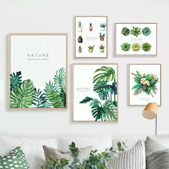 Green Leaf Print Canvas Wall Art Framed Botanical Green Plant | Etsy