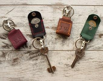 leather keychain Leather key fob Aldi quarter keeper Personalized keyfob Initials key fob Tassel key chain Leather key holder Corporate gift