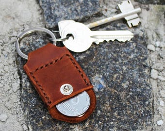 Leather key holder leather keychain fob 3rd anniversary gift Leather key fob Key chain coin keeper Leather keyfob Aldi quarter keeper Keyfob