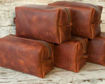 6a614e9a7e09 SET OF 5 Personalized gift for groomsmen Gift for groom Leather Dopp kit  for men Groomsmen proposal monogram shaving bag Mens toiletry bag