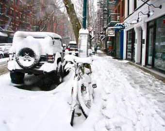 Bicycle in a snow storm. East Village New York. USA
