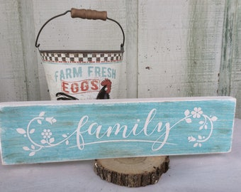 Family aqua painted distressed wood sign 14x3.5
