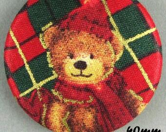 Fabric - Christmas bear button - Christmas Teddy Bear - 40mm - (40-22)