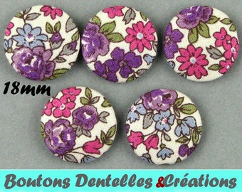 Covered buttons rustle - small flowers - 18mm - (18-35)