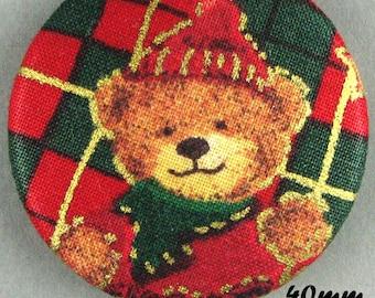 Fabric - Christmas bear button - Christmas Teddy Bear - 40mm - (40-19)