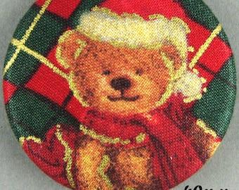 Fabric - Christmas bear button - Christmas Teddy Bear - 40mm - (40-21)