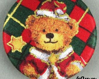 Fabric - Christmas bear button - Christmas Teddy Bear - 40mm - (20-40)