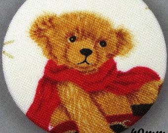 Fabric - Christmas bear button - Christmas Teddy Bear - 40mm - (40-13)