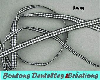 Black gingham Ribbon - in version mini 5mm - 5 m - (black, 05-01)