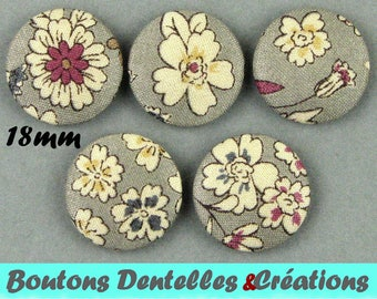 Covered buttons fabric rustle - small flowers - 18mm - (18-29)