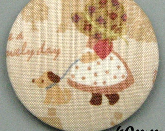 Sunbonnet Sue (40-11) - Sunbonnet - fabric covered button