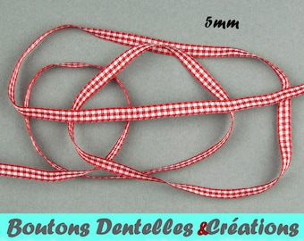 Gingham Red Ribbon version-mini 5mm - 5 m - (red, 05-01)