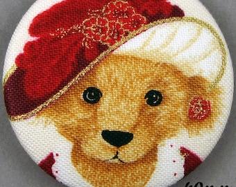Fabric - Christmas bear button - Christmas Teddy Bear - 40mm - (40-10)