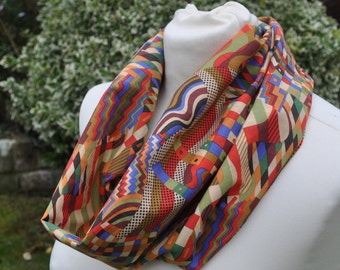 8fa14c15 Snood/cowl in John Lewis cotton lawn 'Gustav Klimt' red blue green abstract