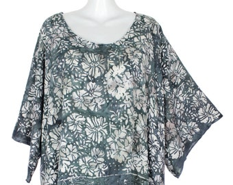 c86e73d742 Plus Size 3X Fringed Caftan Tunic Top Casual Shirt, Floral Print
