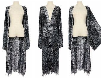 SheerTop Jacket KIMONO white ruffle boho openbuttons DUSTEr upcycled etched fabric