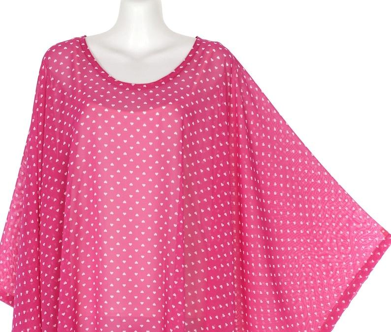 L35 Pink Small Love Print Sheer Chiffon Kimono Sleeve Caftan Tunic Layering Top Plus Size 4X 5X
