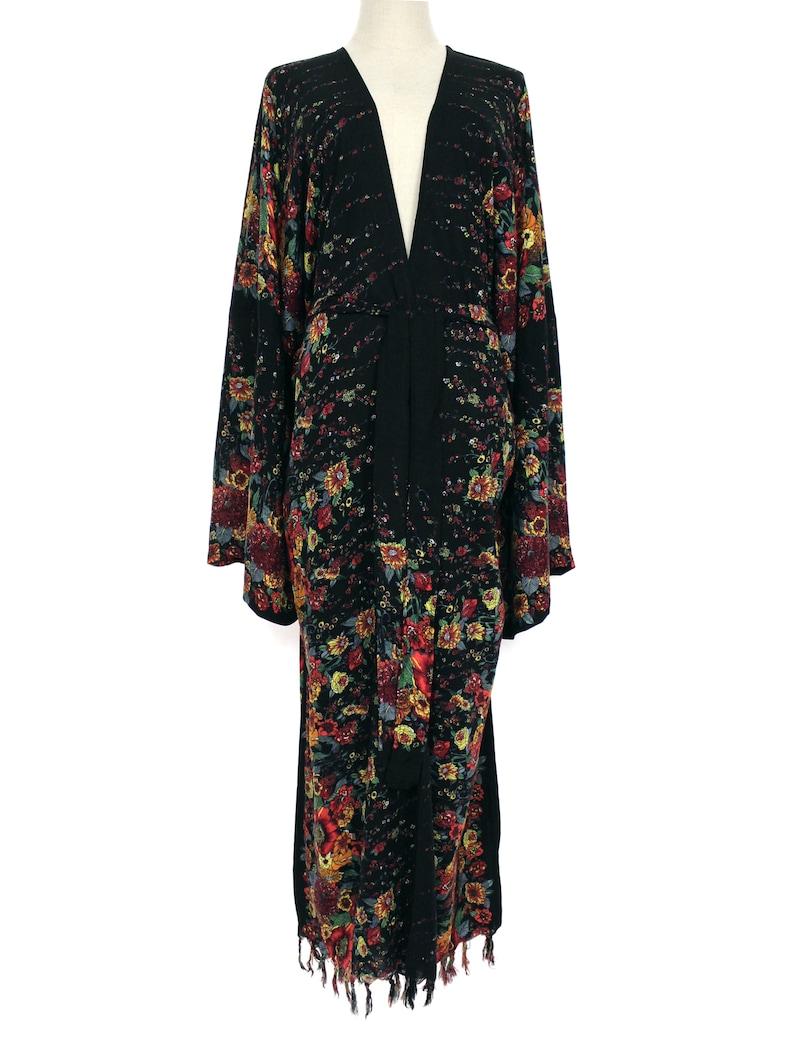 Vintage Coats & Jackets | Retro Coats and Jackets Big Kimono Sleeve Fringed Long Duster Jacket Wrap Plus Size 2X 3X 4X Boho Holiday Wear Loose Fit Black w/ Multi Floral $35.09 AT vintagedancer.com