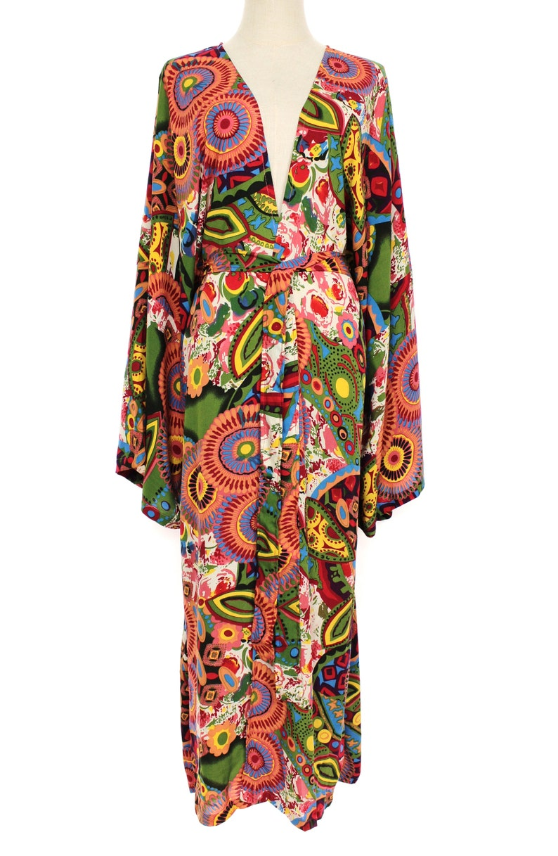 Vintage Style Dresses | Vintage Inspired Dresses One Size M to 2X Big Kimono Sleeve Long Duster Oversized Jacket Wrap Beach Cover Up Bohemian Holiday Wear Loose Fit Abstract $34.99 AT vintagedancer.com