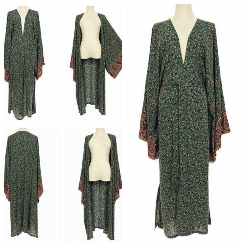 1920s Coats, Furs, Jackets and Capes History Big Kimono Sleeve Long Duster Jacket Wrap Plus One Size 3X 4X 5X Bohemian Holiday Wear Loose Fit Green w/ Small Floral Print $34.99 AT vintagedancer.com