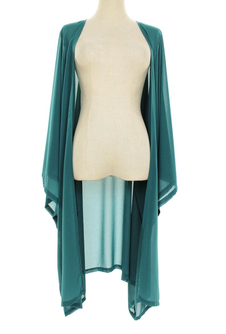 Shawls & Wraps | Fur Stole, Lace, Fringe Teal Sheer Soft Chiffon Kimono Cardigan Oversized Jacket Wrap Plus One Size L-4X L40