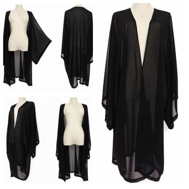 Shawls & Wraps | Fur Stole, Lace, Fringe Black Sheer Soft Chiffon Kimono Cardigan Oversized Jacket Wrap Plus One Size L-4X L40