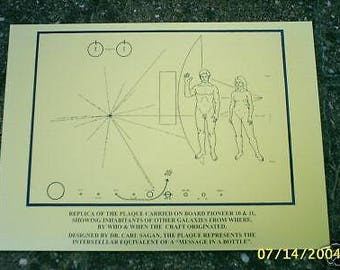 NASA Pioneer 10/11 space probe plaque - Carl Sagan