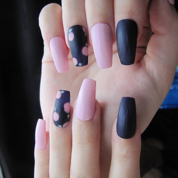 Matte pink and navy blue press on nails with pink flower accents , fake  nails , wedding , party , cute , girly , gorgeous , beautiful