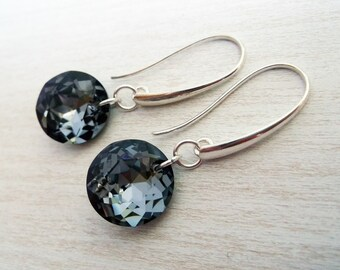 925 silver earrings with Swarovski crystals, black earrings, dangle earrings, handmade Swarovski earrings
