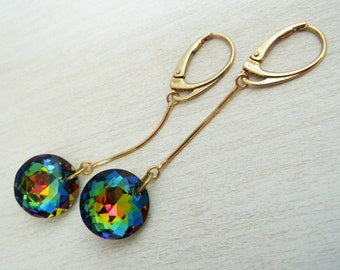 Dangle earrings gold plated 925 silver with Swarovski crystals , gold silver earrings , Swarovski earrings , colorful earrings