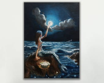 The Sky Thief 11 x 16 inches Canvas Print || Abstract Surreal Mermaid || Oil Painting Print on Canvas Board