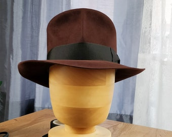 bf1f01a8 LEIFUR Lucky FEDORA by HUFVUD | Made to measure | Custom Leather Sweatband  | 30X & 100X Beaver fur felt | Indiana Jones hat | Unique Fedora