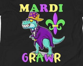 Fleur-de-lis Nola Costume Party Present Tee Shirts Mardi Grawr T Rex Dinosaur Mardi Gras Bead Costume Shirt Mardi Grawr T Rex Dinosaur