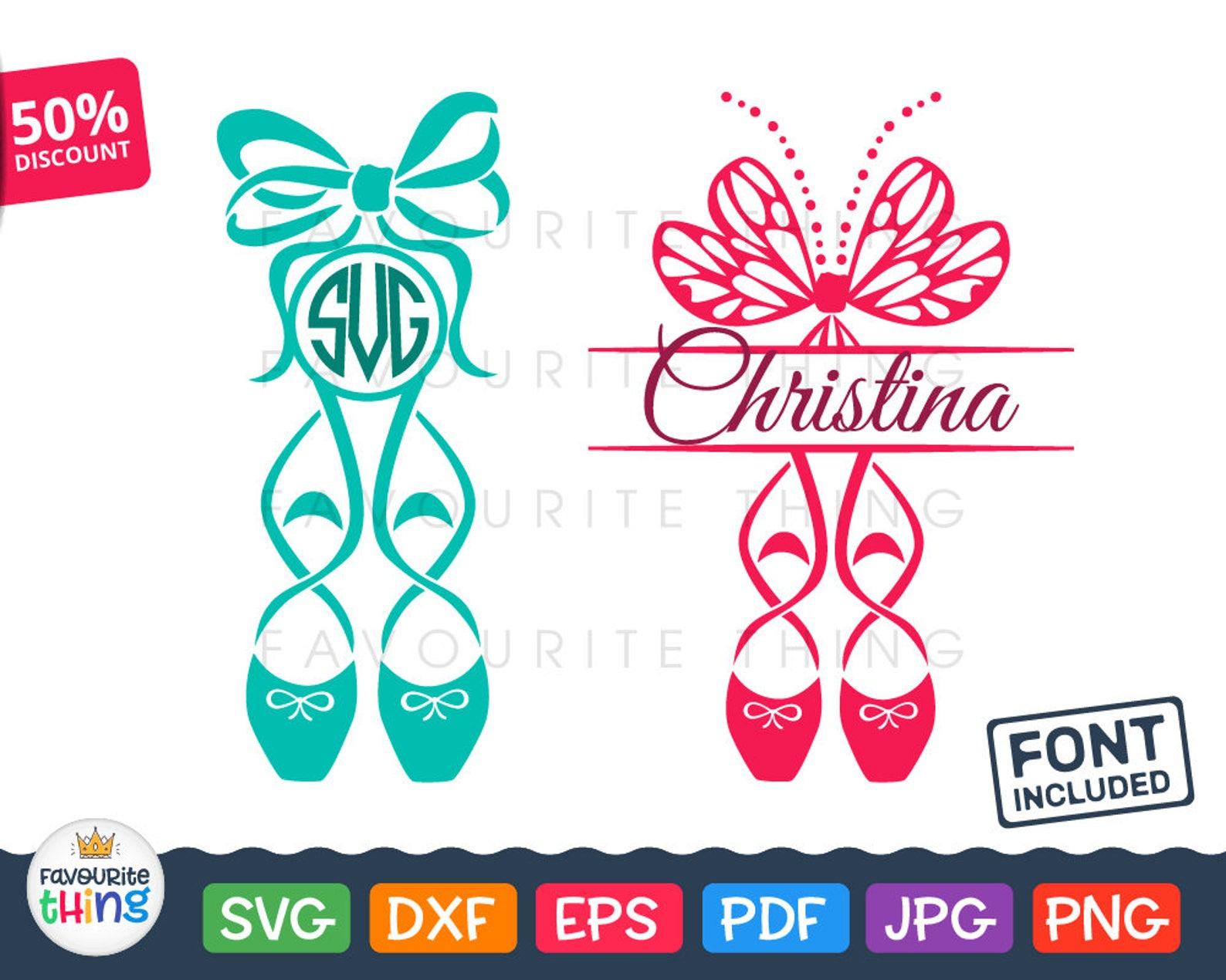 ballet shoes svg ballerina monogram svg little dancer initial frame svg cut file vinyl decal clip art download cricut silhouette