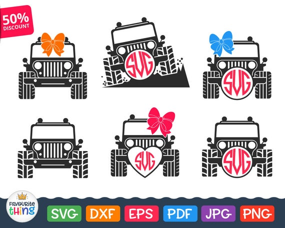 Jeep Svg Jeep Girl Svg Files Jeep Monogram Svg Car With Bow Etsy