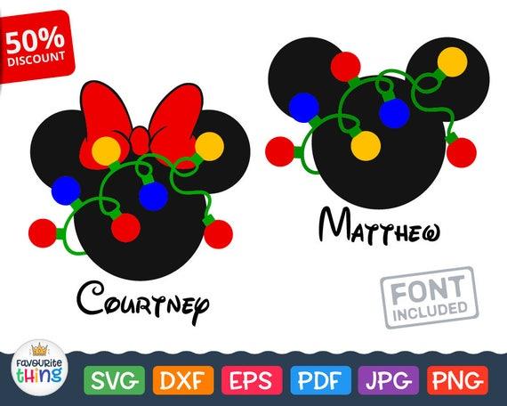 Christmas Minnie Mouse Head.Mickey Minnie Mouse Head With Lighted Christmas Garland Svg File For Cricut Silhouette Disney Christmas Clip Art Vinyl For Boys Girls
